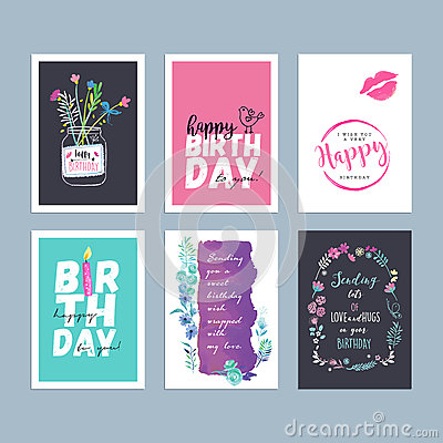 Set of hand drawn watercolor birthday greeting cards Vector Illustration