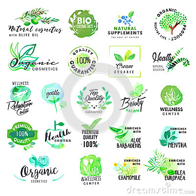 Set of hand drawn watercolor labels and badges for cosmetics and health care Vector Illustration