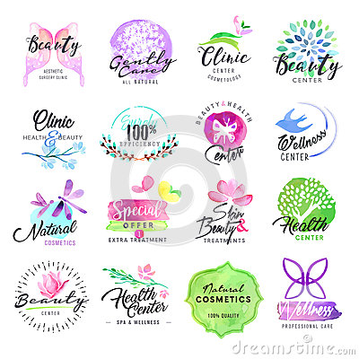 Set of hand drawn watercolor labels for beauty and cosmetics Vector Illustration