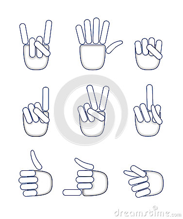 A set of hand gestures.