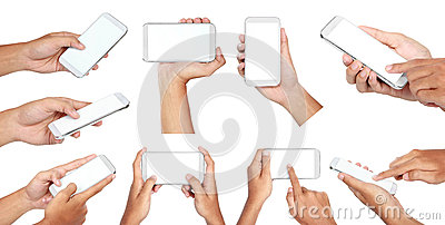Set of hand holding mobile smart phone with blank screen Stock Photo