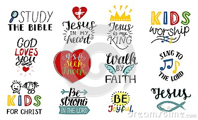 Set of 12 Hand lettering christian quotes Jesus is my king, Study the bible, Walk by faith, Kids ministry, Sing to the Vector Illustration