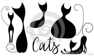 Set of handdrawn cartoon cats Stock Photo
