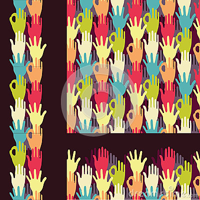 Set of hands in the crowd seamless pattern