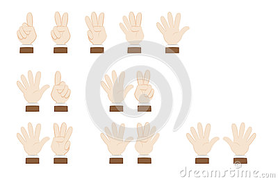 Set of hands gesturing and showing numbers Vector Illustration