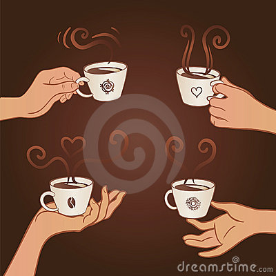 Set of hands holding coffee cups