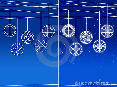 Set of Hanging balls on bluish background