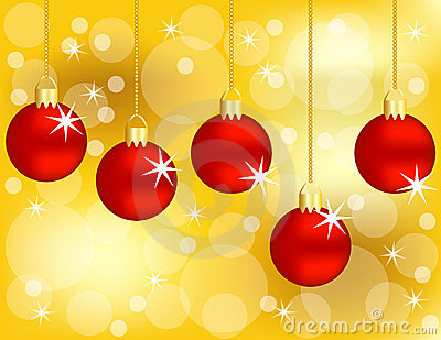 Set of Hanging Red Christmas Ornaments