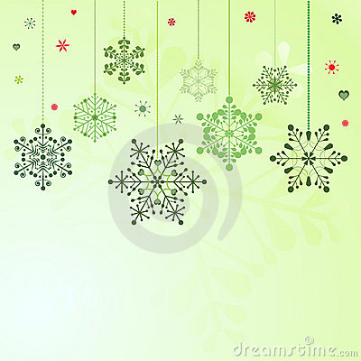 Set of hanging snowflakes