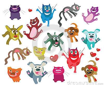 Set of happy cats and dogs
