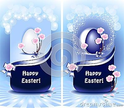 Set Happy Easter in blue color