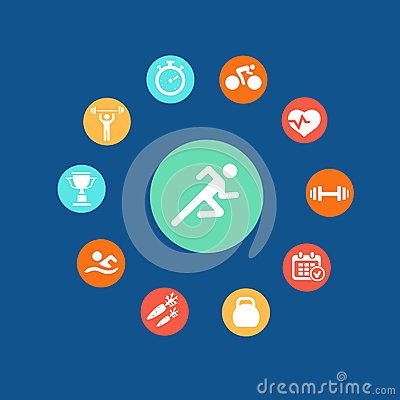 Set health and fitness circular icons.