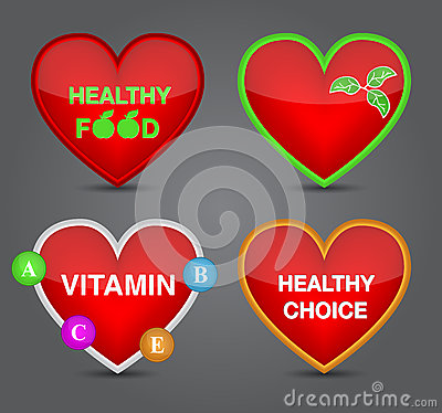 Set of Healthy food icon on heart shape.