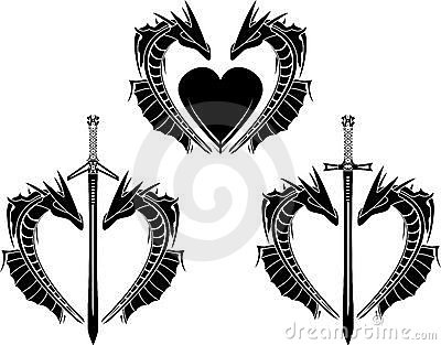 Set of hearts of dragons