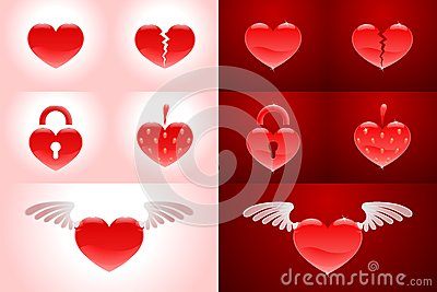 Set of heartshapes