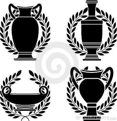Set of hellenic amphoras and vases