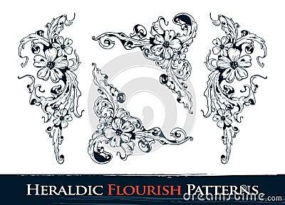 Set of heraldic flourish patterns