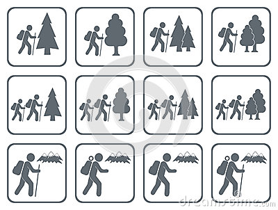 Set of Hiking icon illustration isolated vector Vector Illustration