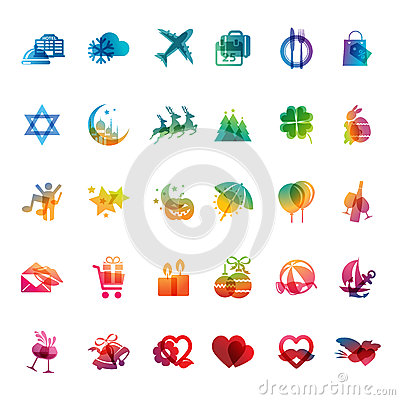 Set of holidays icons