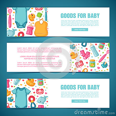 Set horizontal banners with childhood`s patterns. Newborn staff for decorating flyers. Design templates for card Vector Illustration