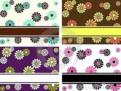 Set of horizontal retro banners with large flowers