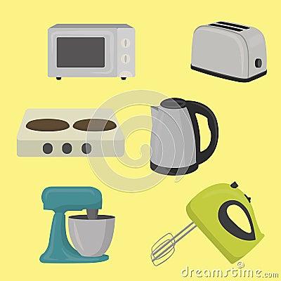 Set of household appliances design flat. Vector Illustration
