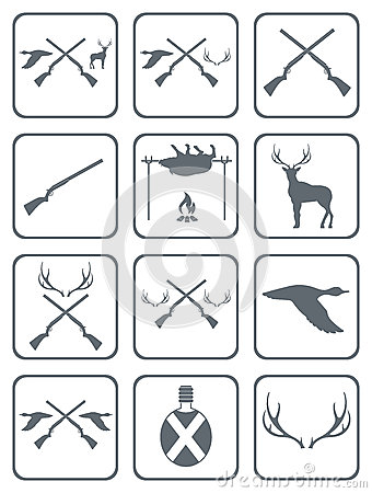 Set of Hunting club logo icon Vector Illustration