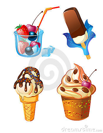 Set of ice-cream with fruits