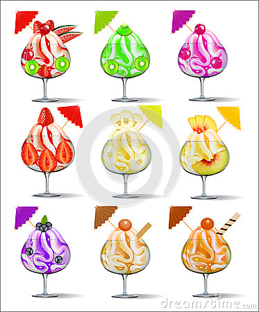 Set of ice-cream with fruits in a glass goblet