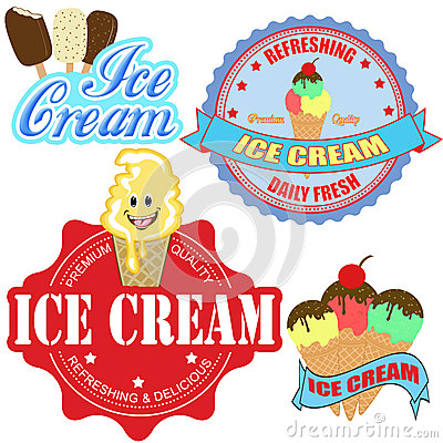 Set of  ice cream labels and icons