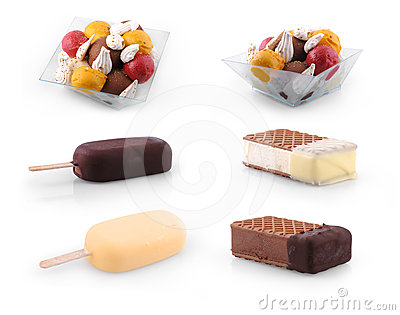 Set of Ice cream scoops , stick & biscuit