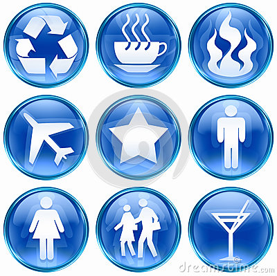 Free Set Icon Blue 01. Royalty Free Stock Photography - 25453017