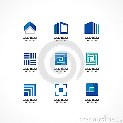 Set of icon design elements. Abstract logo ideas for business company. Building, construction, house, connection Vector Illustration