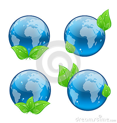 Set icon earth with green leaves isolated on white