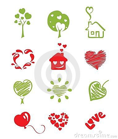 Set icon objects hearts
