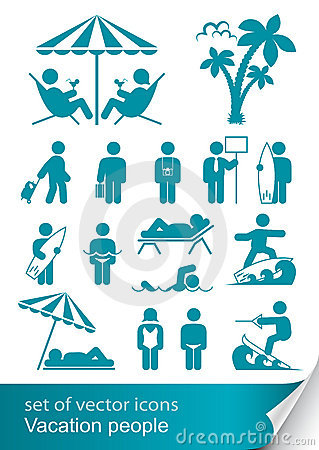 Set icon vacation people Vector Illustration