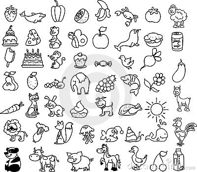 Set of icons of animals, food, nature, vector