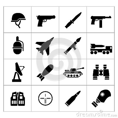 Set icons of army and military Vector Illustration