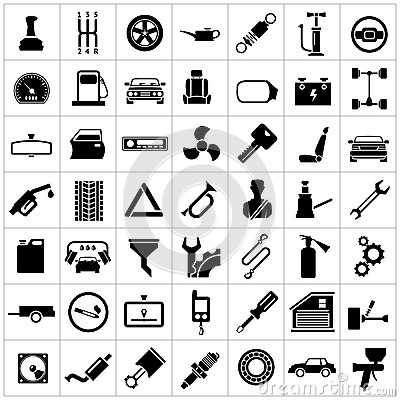 Set icons of auto, car parts, repair and service Vector Illustration