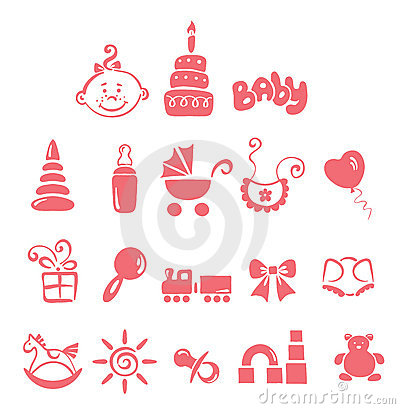 Set of icons - baby girl