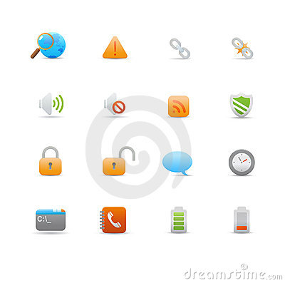Set of icons for common computer functions Editorial Stock Photo