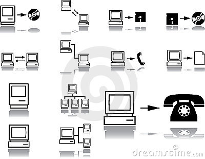 Set icons. Computer network
