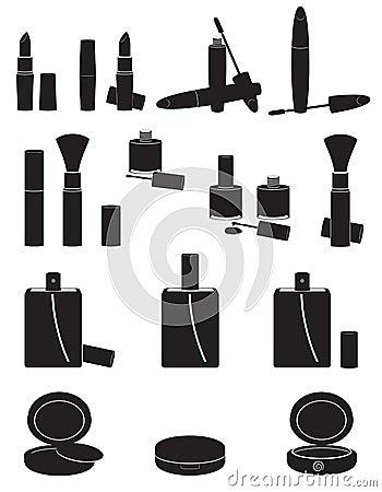 Set icons cosmetics black silhouette vector illust