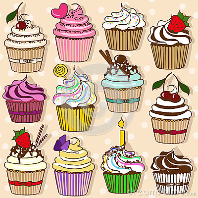 Set of  icons of cupcakes