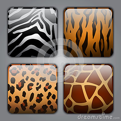Set of icons with different animal textures