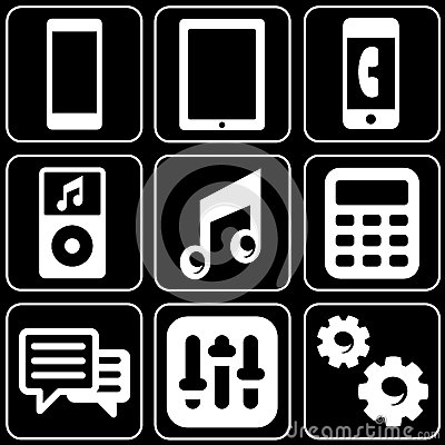 Set of icons (electronics, phones, players)