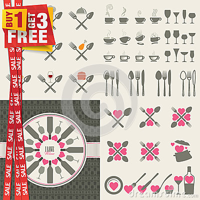 Set of icons and elements for restaurants, food an