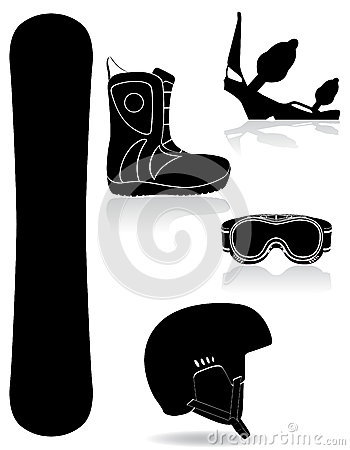 Set icons equipment for snowboarding black silhoue