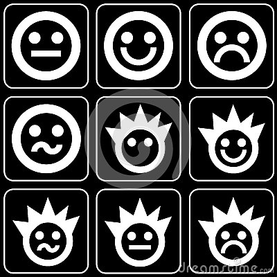 Set of icons (faces, smiles)
