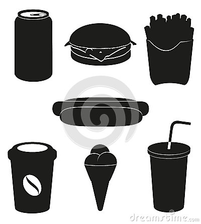 Set icons of fast food black silhouette